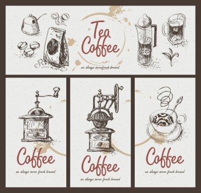 Poster set di disegno utensili per bere il tè e il caffè