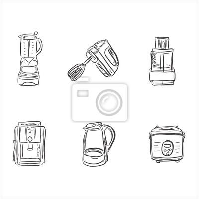 Set di elettrodomestici da cucina in stile schizzo, elementi ...