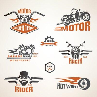 Poster Set di etichette di moto d'epoca, distintivi ed elementi di design