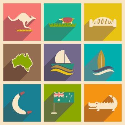 Poster Set di icone piane con una lunga ombra australiano
