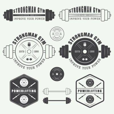 Poster Set di palestra logo, etichette, scudetti ed elementi in stile vintage
