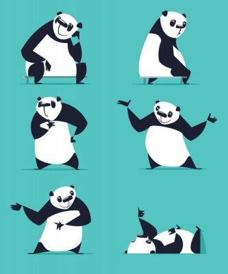 Poster Set di Panda in varie pose. Seduto, sognare, pensare, mostrando, disteso, invitante, girando. Ogni Panda è nel livello separato.