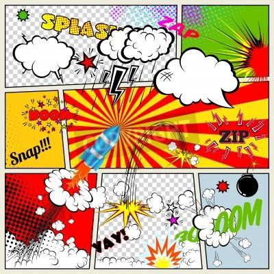Poster Set di Retro Comic elementi Libro disegno vettoriale, parola e pensiero bolle