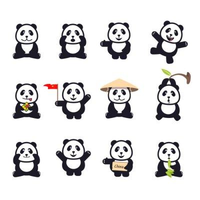 Poster set di simpatici panda divertenti del fumetto