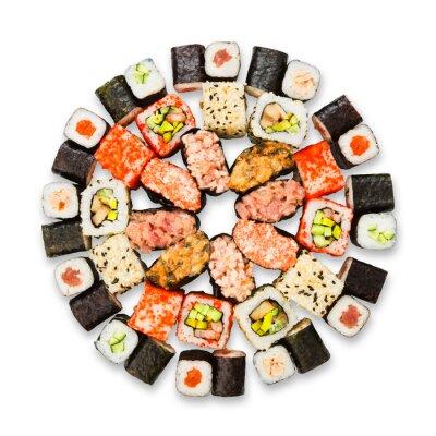 Poster Set di sushi, maki e panini isolati in bianco