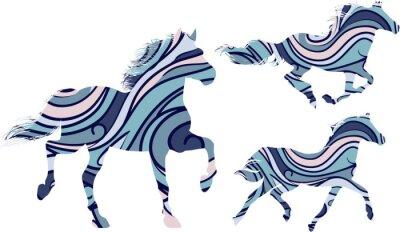 Poster Set di tre sagome blu fantasia dei cavalli in esecuzione