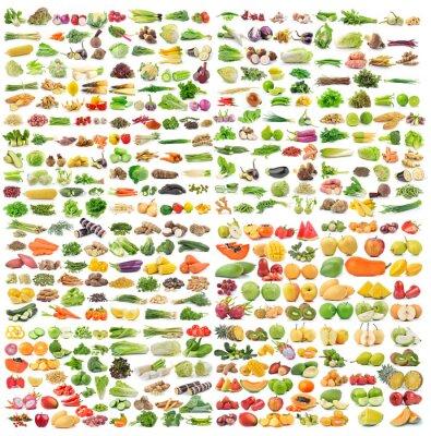 Poster set di verdura e frutta su sfondo bianco