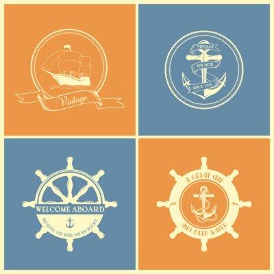 Poster Set Di Vintage Retro nautiche Badges ed etichette