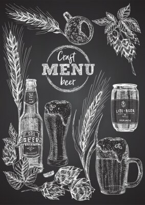 Poster Set hand drawn sketch bottle and glasses beer, hop, wheat Vintage design bar, restaurant, cafe menu on on black chalk board background. Graphic vector art Template for flyer, banner, poster