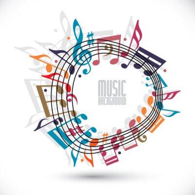 Poster Sfondo colorato di musica con chiave e le note, spartiti nel ro