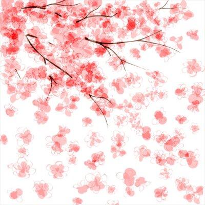 Sfondo Con Albero In Fiore Di Ciliegio Giapponese Manifesti Da Muro
