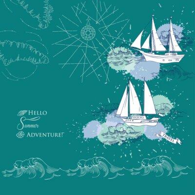 Poster Sfondo con le navi e il mare waves.Hand disegnato, le onde e yacht. illustrazione vettoriale