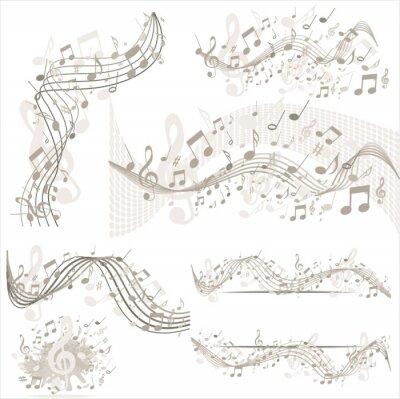Poster Sfondo con note musicali in beige
