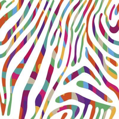 Poster Sfondo con pattern colorati pelle della zebra