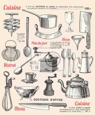 Sfondo cucina con testo francese manifesti da muro • poster ...