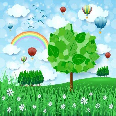 Poster Sfondo di primavera con grande albero e mongolfiere