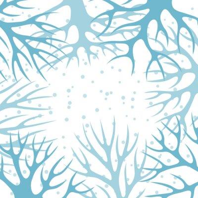 Poster Sfondo invernale design con alberi stilizzati astratti