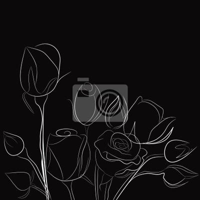 Sfondo Nero Con Rose Bianche Manifesti Da Muro Poster Flayer