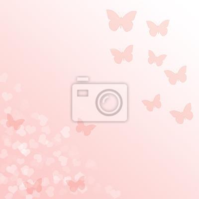 Sfondo Rosa Sfumato Con Farfalle E Cuori Manifesti Da Muro Poster