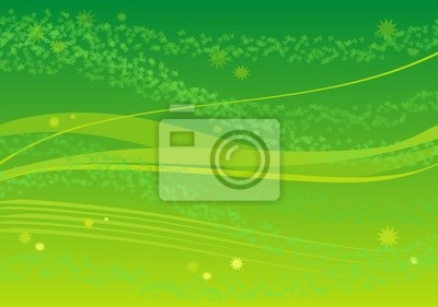 Sfondo Verde Con Foglie E Stelle Manifesti Da Muro Poster Fogliame