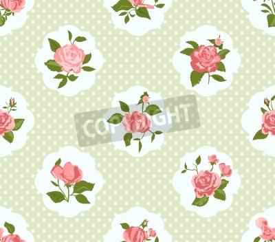 Poster Shabby Chic pattern Rosa e sfondo trasparente. Ideale per la stampa su tessuto e carta o prenotazione rottami. Cottage chic.