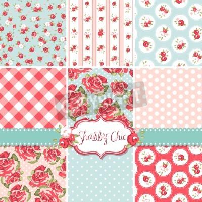 Poster Shabby Chic Rose Modelli e sfondi senza soluzione di continuità. Ideale per la stampa di tessuto e carta o avanzi Onto prenotazione.