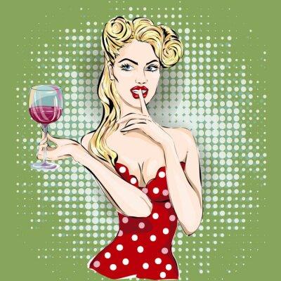 Poster Shhh pop art donna faccia con il dito sulle labbra e bicchiere di vino