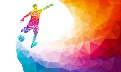 Poster silhouette creativo di calciatore. Calcio giocatore calcia il pallone in moda astratto colorato arcobaleno poligono indietro