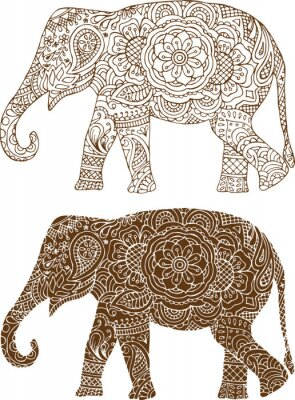 Poster silhouette di un elefante nei modelli mehendi indiane