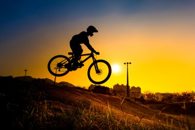 Poster Silhouette Of Stunt Bmx Rider - color tone tuned