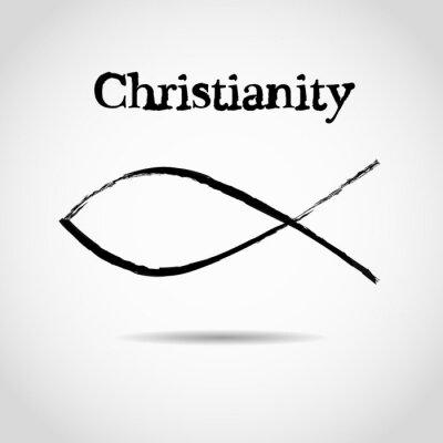 Poster simbolo del pesce cristiano. logo