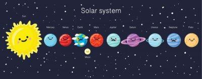Poster Sistema solare con sorridente sveglio pianeti, il sole e la luna.