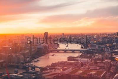 Poster Skyline di Londra - Tamigi - Tramonto - Estate - Sky Garden - Arancione