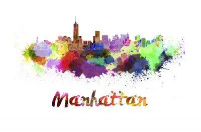 Poster skyline di Manhattan in acquerello