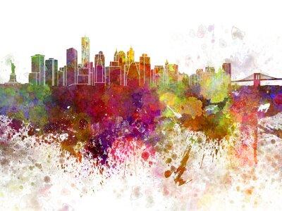 Poster Skyline di New York v2 in acquerello sfondo