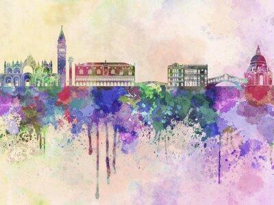 Poster Skyline di Venezia in acquerello sfondo