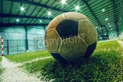 Poster soccer ball on green grass in an indoor playground