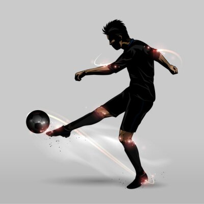 Poster soccer player mezzo volley