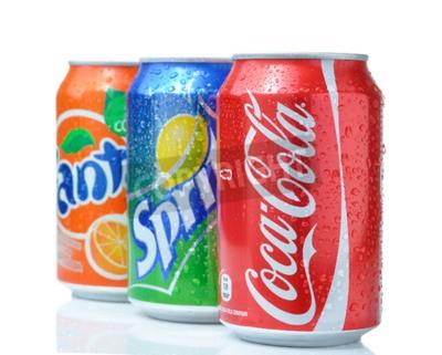 Poster SOFIA, Bulgaria - 27 APRILE 2013: Coca-Cola, Fanta e Sprite Lattine Isolati Su Bianco. Le tre bevande prodotte da The Coca-Cola Company