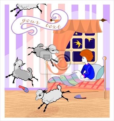 Poster: Sogni doro di fondo: ragazzo conta pecore nella sua camera da