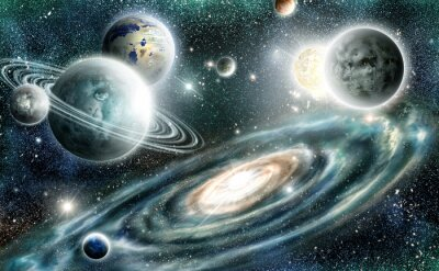 Poster Solar system and spiral galaxy