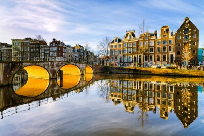 Poster Soleggiato mattina a Amsterdam, Paesi Bassi