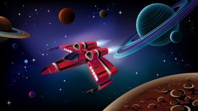 Poster Spaceship, pianeti e spazio.