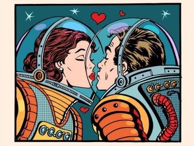 Poster spazio bacio uomo e donna astronauti