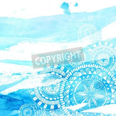 Poster spazzola dell'acquerello Colpi blu con la mano bianca mandala disegnati - Doodle rotonda elementi indiani. Vector estate progettazione.