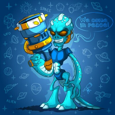 Poster Spiteful invasore spaziale aliena con le armi