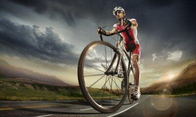 Poster Sport. Ciclista della strada.