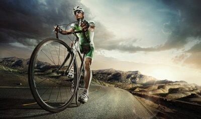 Poster Sport. Ciclista della strada