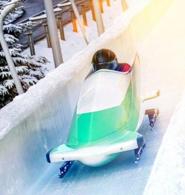 Poster Sport invernali - Bobschlitten in der Eisbahn