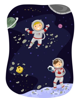 Poster Stickman bambini Outer Space Foto